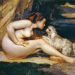 Gustave Courbet, Donna nuda con cane,1861-1862