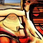 Calice di vino ai piedi della sfinge, creazione grafica di Marcello Comitini