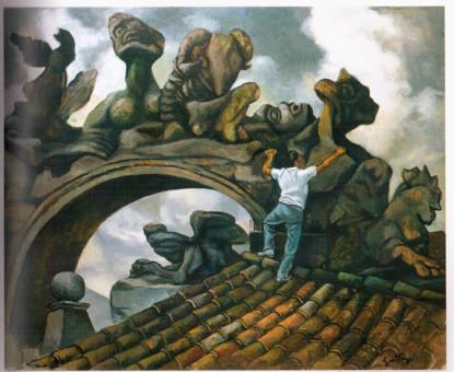 Renato Guttuso, Giovane e mostri, 1980