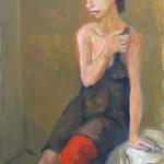 Alberto Chiancone, Ragazza con calze rosse, 1973 (cm. 70x50)