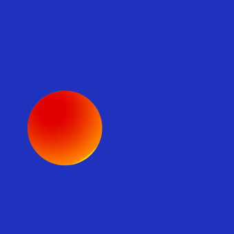 Blu contro sfera arancione, ideazione grafica Marcello Comitini
