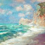 Claude Monet, La falaise et le port d'Amont par gros temps