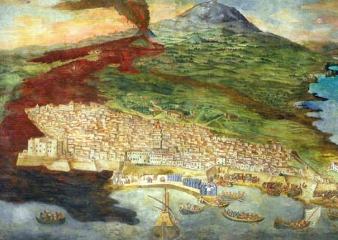 Giacinto Platania, Eruzione Etna 1669, affresco del 1675